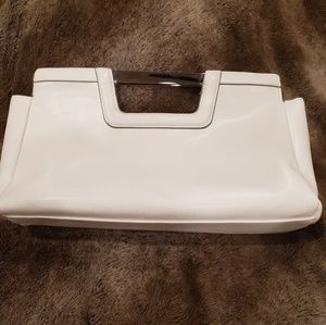 The Limited Structured Cutout Handle White Clutch